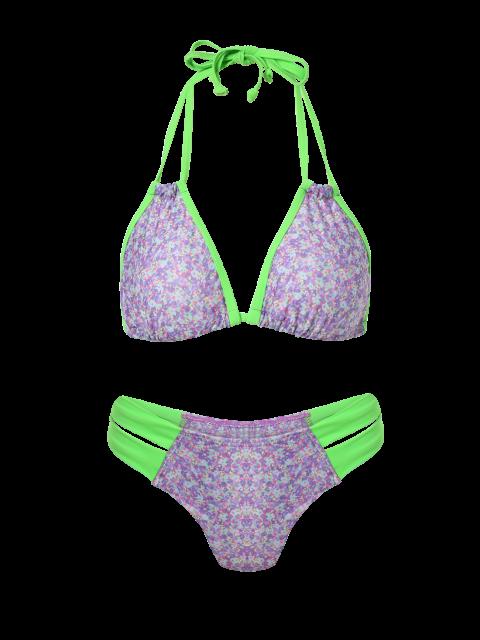 best Purple Print Halter Splice Bikini Set - PURPLE S Mobile