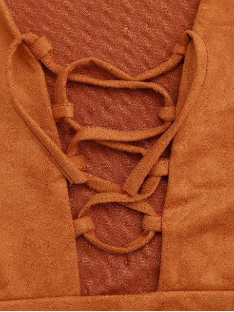 affordable Faux Suede Lace Up Cropped Top - ORANGEPINK S Mobile