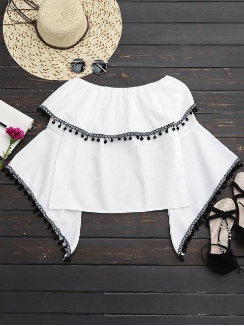 buy Lace Trim Off Shoulder Top - WHITE ONE SIZE Mobile