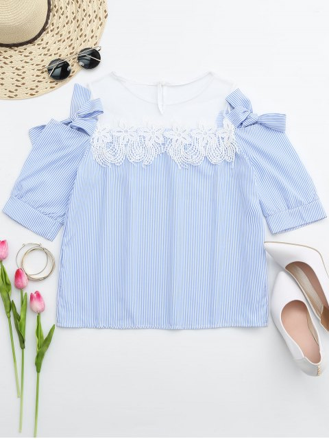 women Lace Trim Striped Cold Shoulder Top - STRIPE ONE SIZE Mobile