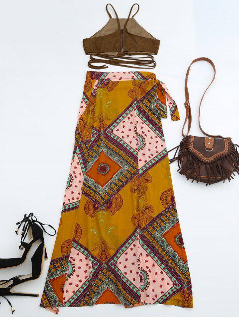 online Cropped Faux Suede Top and Wrap Tribal Print Maxi Skirt - COLORMIX M Mobile