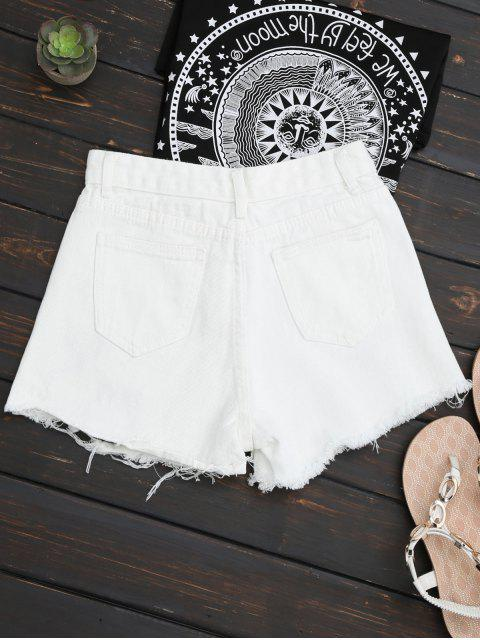 shop Embroidered Ripped Denim Cutoff Shorts - WHITE XL Mobile