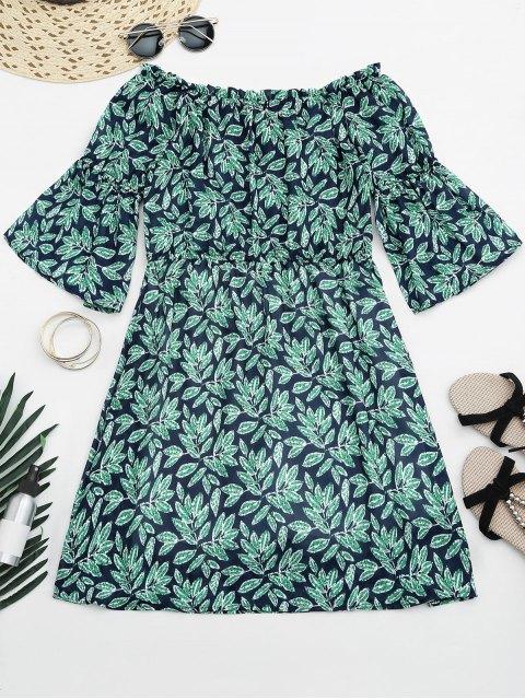 Blätter drucken Mini aus Schulter Kleid - COLORMIX  S Mobile