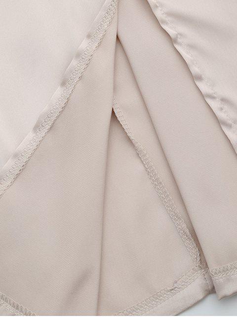 chic Back Zipper Front Slit Club Dress - APRICOT S Mobile