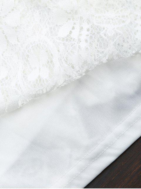 Robe mini en dentelle entrecroisé - Blanc L Mobile