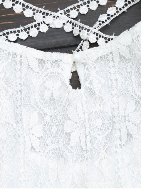 Robe mini en dentelle entrecroisé - Blanc S Mobile