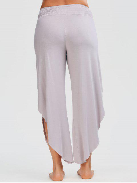 trendy Shirred Waist Tulip Cover Up Pants - PALE PINKISH GREY M Mobile