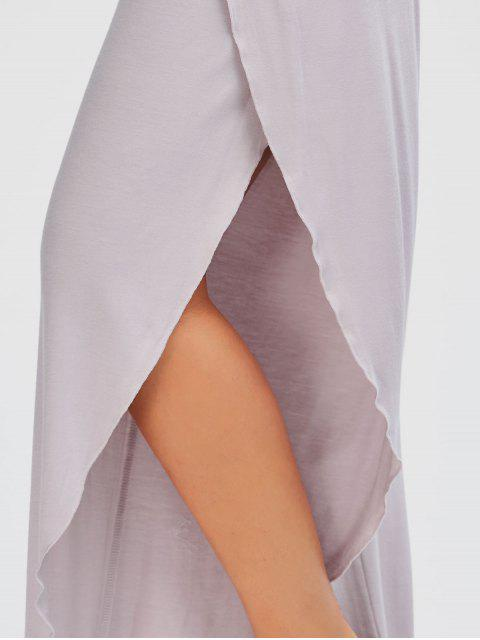 Shirred Waist Tulip Cover Up Pants - Pale Rose Gris M Mobile
