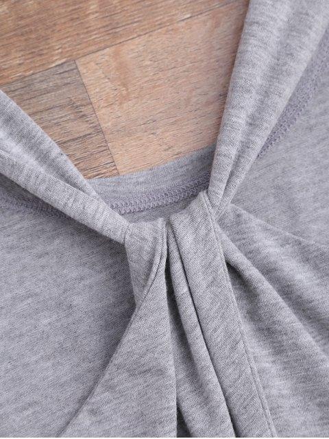 women Twist Drawstring Cover Up Romper - GRAY M Mobile