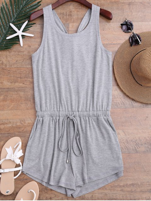 women Twist Drawstring Cover Up Romper - GRAY M Mobile