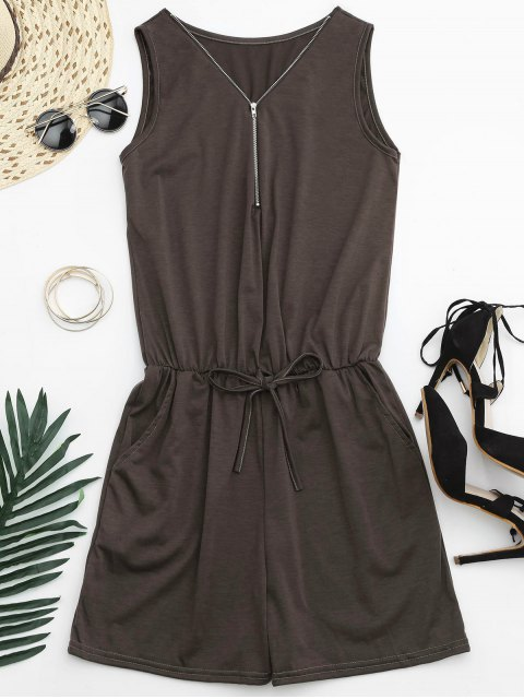 unique Belted Half Zip Romper - BROWN S Mobile