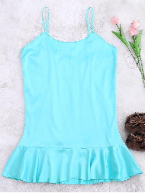 outfits Lace Trim Satin Cami Sleep Dress - LAKE BLUE S Mobile