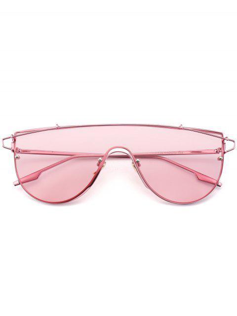 chic Metallic Long Crossbar Shield Sunglasses - PINK  Mobile
