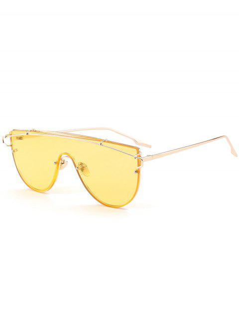 fancy Metallic Long Crossbar Shield Sunglasses - YELLOW  Mobile