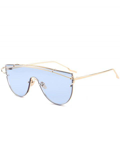 unique Metallic Long Crossbar Shield Sunglasses - LIGHT BLUE  Mobile