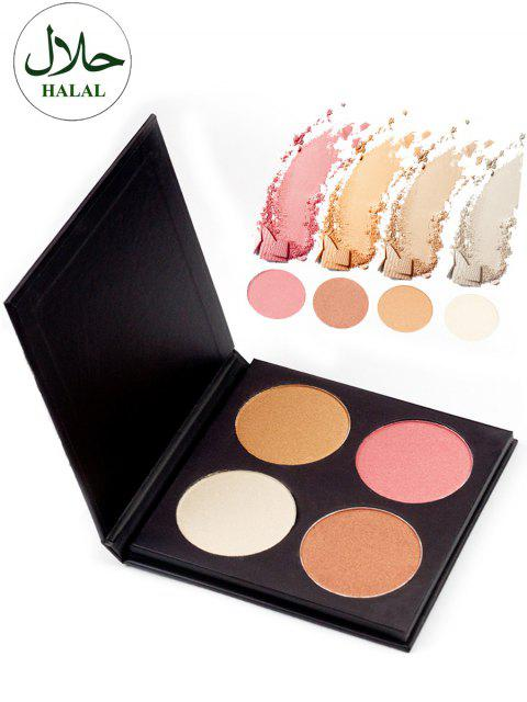 fashion Halal 4 Colors Soft Mineral Highlighter Palette -   Mobile