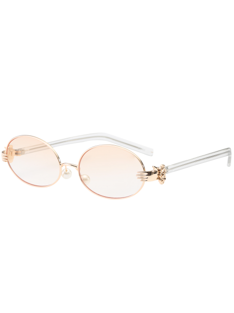 fancy Metal Hand Faux Pearl Nose Pad Oval Sunglasses - PEARL LIGHT PINK  Mobile