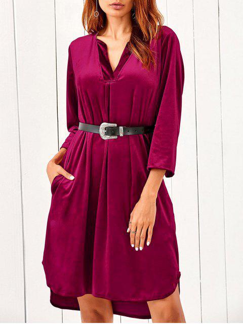 trendy V Neck Pockets Midi Velvet Dress - RED M Mobile