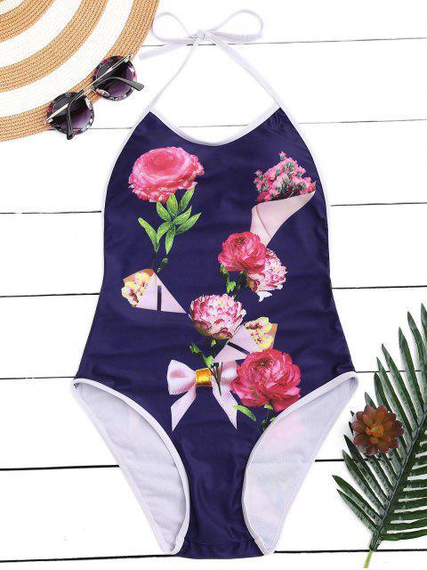fancy Floral Halter High Leg One Piece Swimsuit - CADETBLUE L Mobile