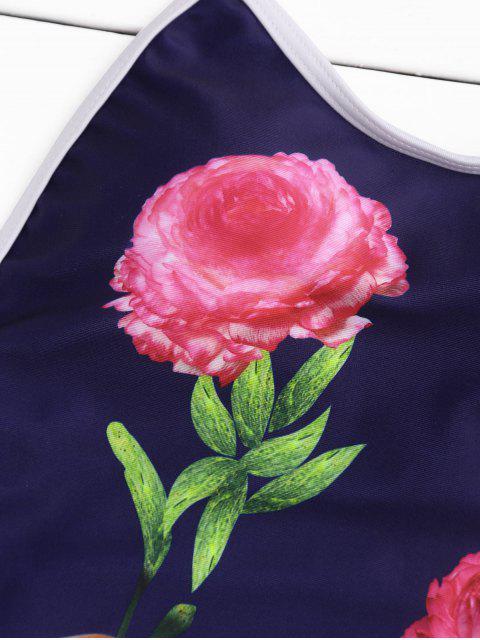 sale Floral Halter High Leg One Piece Swimsuit - CADETBLUE S Mobile