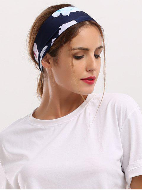 sale Showy Floral Printed Elastic Wide Headband - CADETBLUE  Mobile