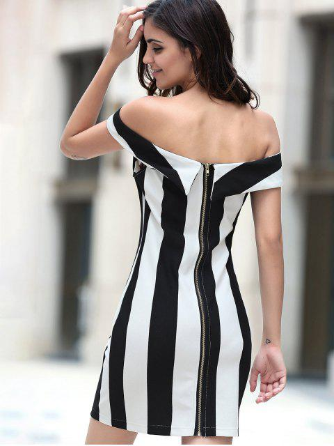 fashion Fitted Striped Sleeveless Off The Shoulder Dress - WHITE AND BLACK S Mobile