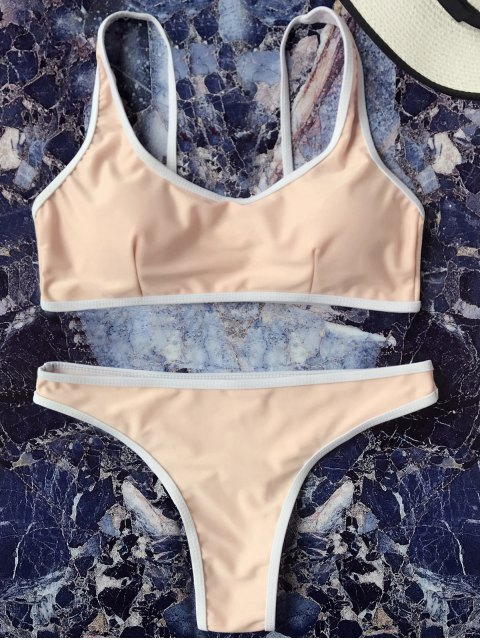 online Contrast Piping Padded Bralette Bikini Set - YELLOWISH PINK S Mobile