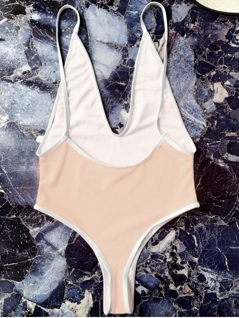 womens Contrast Piping High Leg One Piece Swimsuit - YELLOWISH PINK L Mobile
