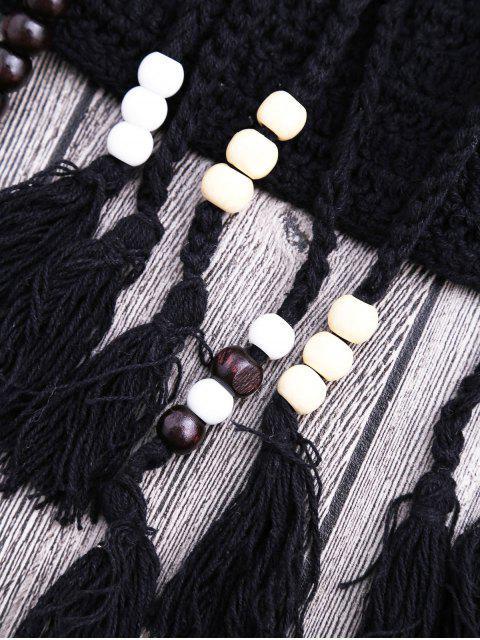shops Tassels Beaded Crochet Bikini - BLACK S Mobile