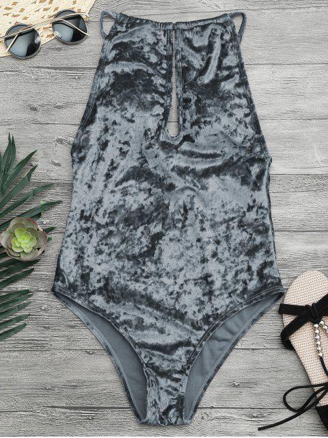 women Padded Keyhole High Neck One Piece Swimsuit - GRAY XL Mobile