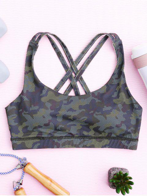 shop Mesh Camo Print Sports Bra - BLUE CAMOUFLAGE M Mobile