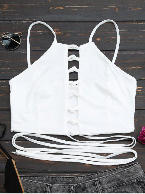 ladies Criss Cross Lace Up Crop Top - WHITE M Mobile