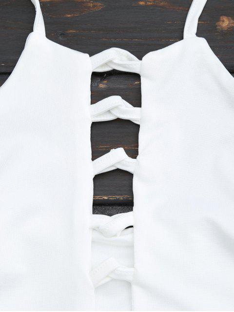 Top croppé lacé entrecroisé - Blanc S Mobile