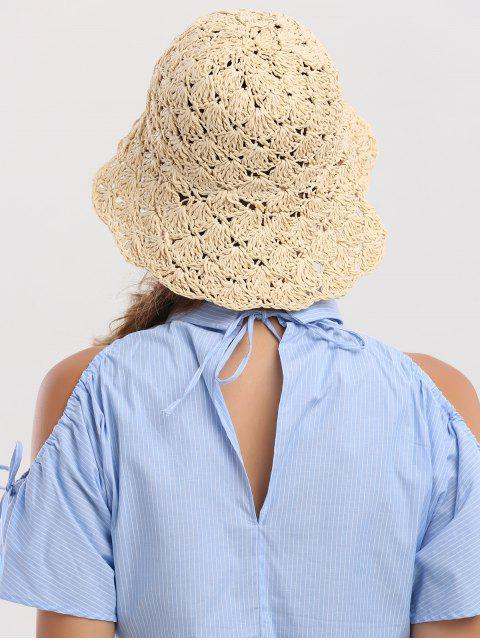 affordable Folding Crocheting Breathable Straw Hat - BEIGE  Mobile