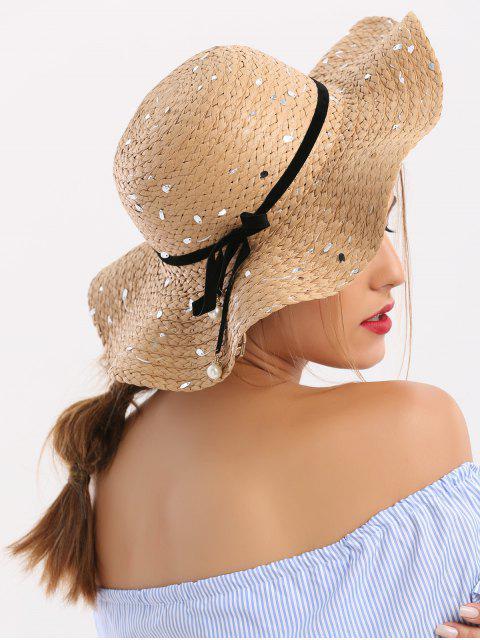 Chapeau de paille en paillettes avec ruban détachable et nœud papillon - café  Mobile