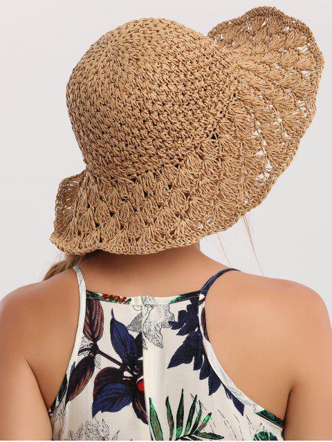 unique Wide Brim Folding Crocheting Straw Hat - KHAKI  Mobile