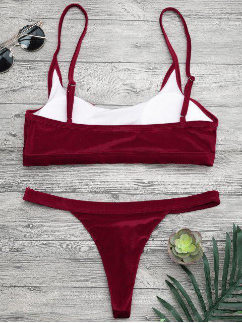 best V String Thong Bralette Bikini Set - BURGUNDY S Mobile