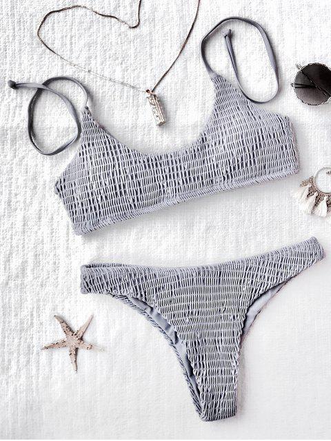 Ensemble de bikini plissé paddé - Gris M Mobile