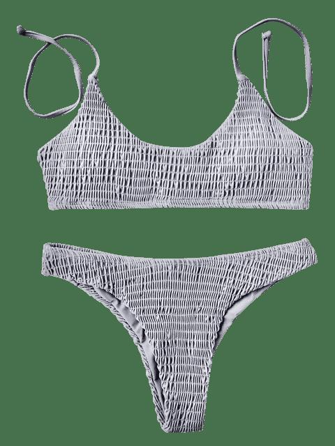outfits Padded Smocked Bralette Bikini Set - GRAY M Mobile