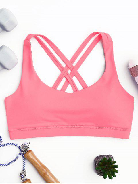women's Strappy Crossover Sports Bra - PAPAYA M Mobile