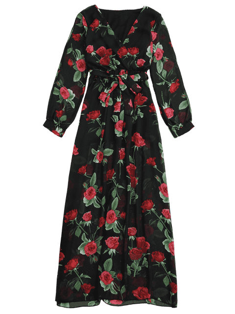 shops Belted Floral Surplice Maxi Dress - FLORAL 2XL Mobile