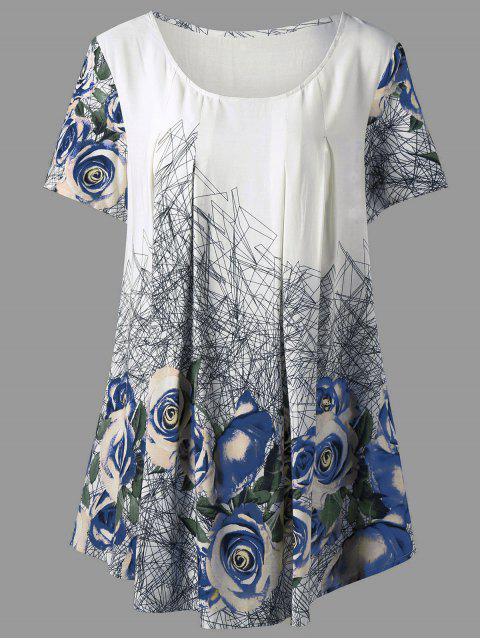 Haut Tunique Imprimé Rose 3D Grande Taille - Bleu XL Mobile