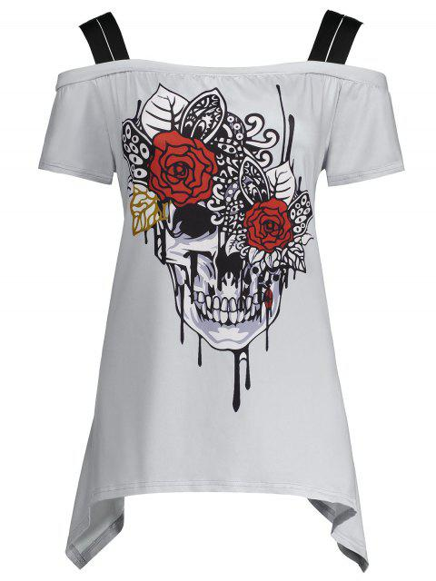 buy Skull Print Cold Shoulder Plus Size Top - GRAY 3XL Mobile