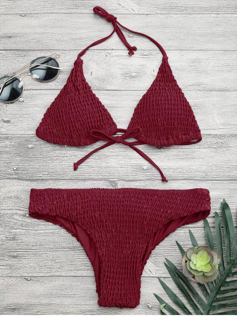 Haut et Bas de Bikini Smocké Rembourré - Bourgogne S Mobile