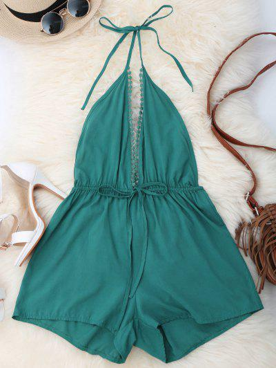 Plunge Open Back Romper - Green S