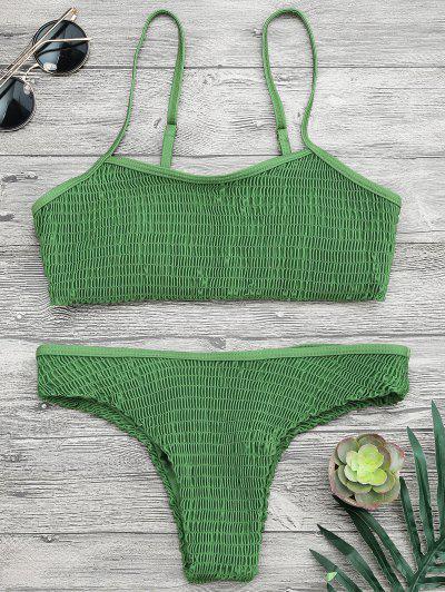 Cami Smocked Bralette Bikini Set - Green M