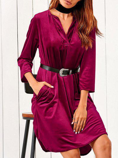 V Neck Pockets Midi Velvet Dress - Red M