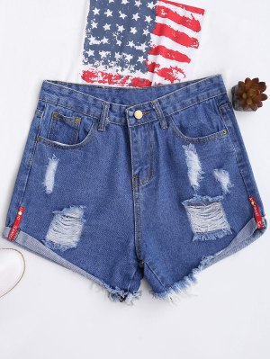 High Waisted Curled Hem Ripped Denim Shorts