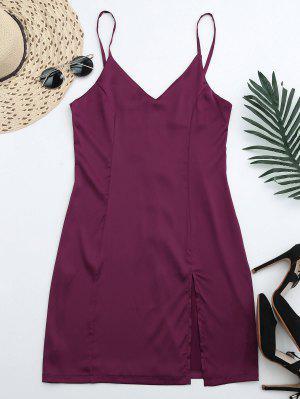Vestido De Fiesta Con Abertura Frontal Con Cremallera En Espalda - Rojo Purpúreo M