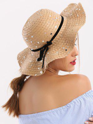Chapeau de paille en paillettes avec ruban détachable et nœud papillon